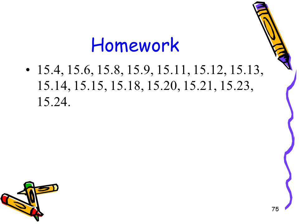 75 Homework 15.4, 15.6, 15.8, 15.9, 15.11, 15.12, 15.13, 15.14, 15.15, 15.18, 15.20, 15.21, 15.23, 15.24.