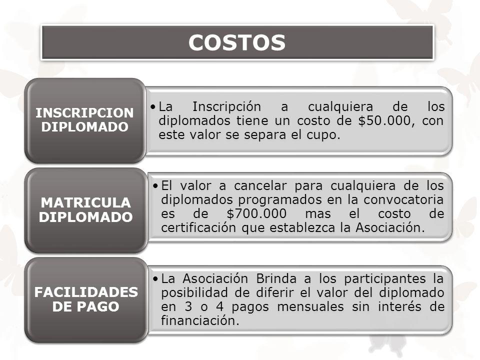 COSTOS La Inscripción a cualquiera de los diplomados tiene un costo de $50.000, con este valor se separa el cupo. INSCRIPCION DIPLOMADO El valor a can
