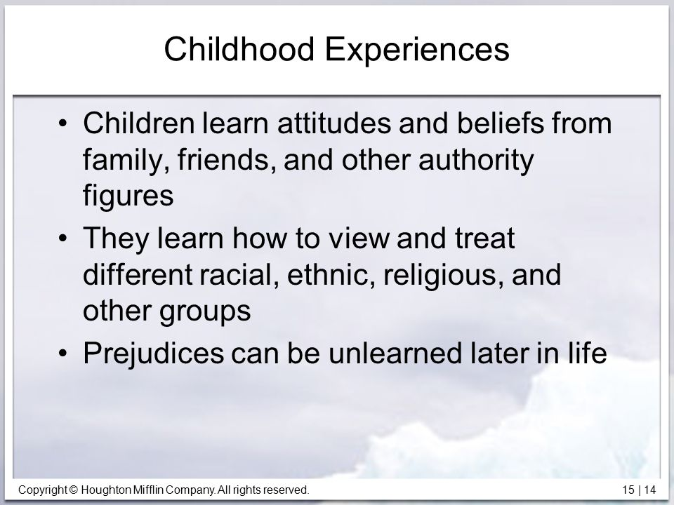 Copyright © Houghton Mifflin Company. All rights reserved. 15   14 Childhood Experiences Children learn attitudes and beliefs from family, friends, an