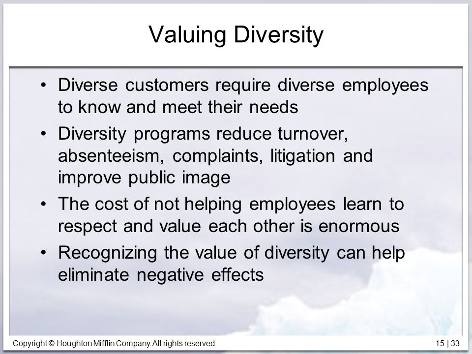 Copyright © Houghton Mifflin Company. All rights reserved. 15   33 Valuing Diversity Diverse customers require diverse employees to know and meet thei