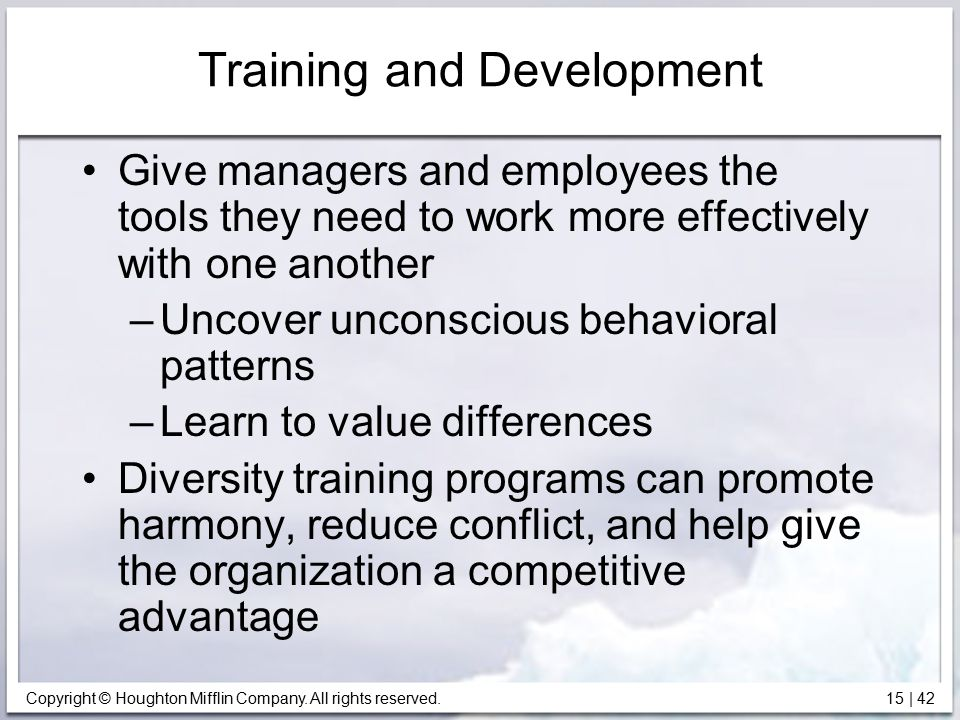 Copyright © Houghton Mifflin Company. All rights reserved. 15   42 Training and Development Give managers and employees the tools they need to work mo