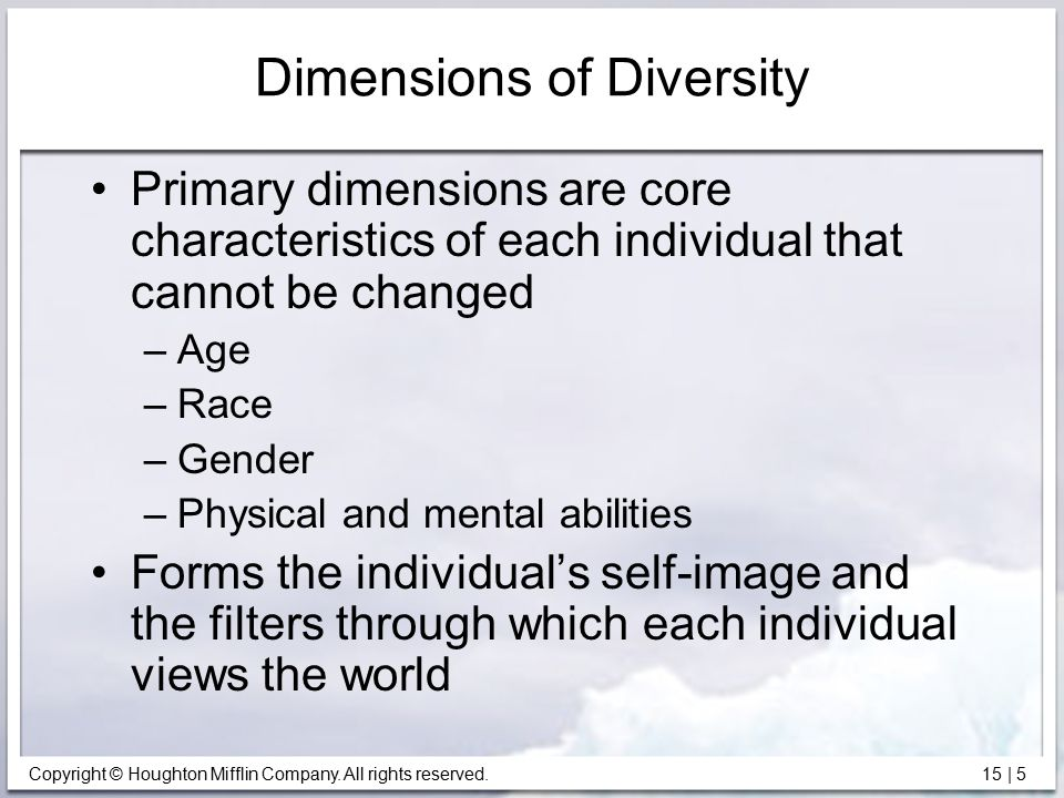 Copyright © Houghton Mifflin Company. All rights reserved. 15   5 Dimensions of Diversity Primary dimensions are core characteristics of each individu