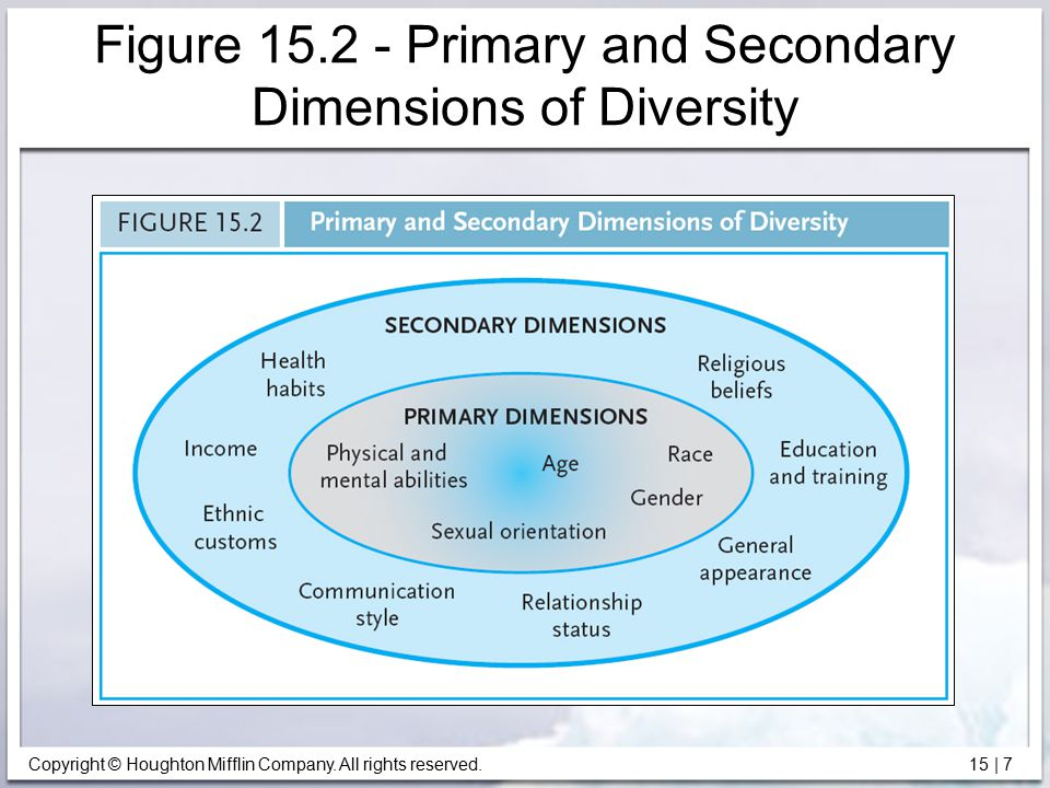 Copyright © Houghton Mifflin Company. All rights reserved. 15   7 Figure 15.2 - Primary and Secondary Dimensions of Diversity