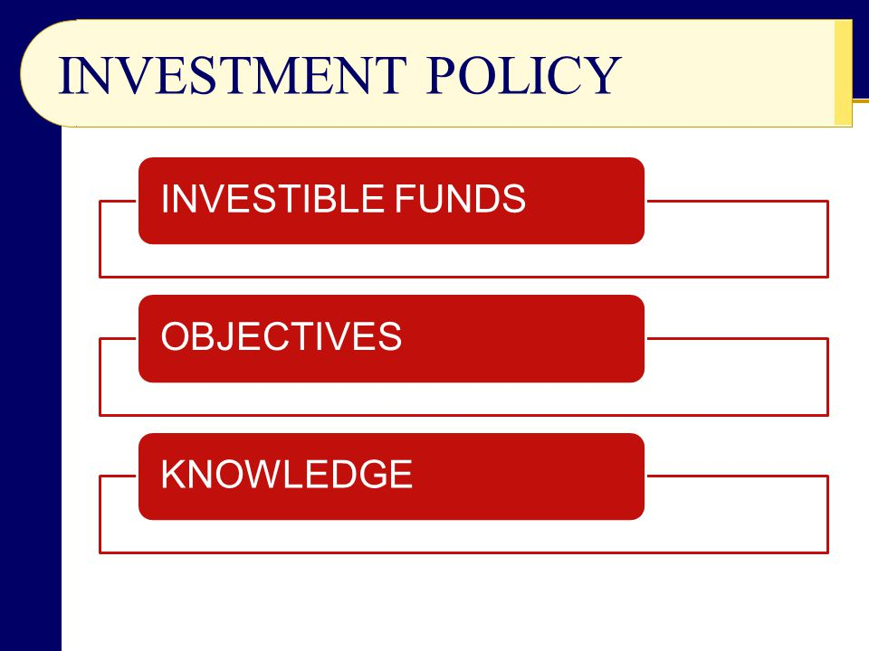 INVESTMENT POLICY INVESTIBLE FUNDSOBJECTIVESKNOWLEDGE