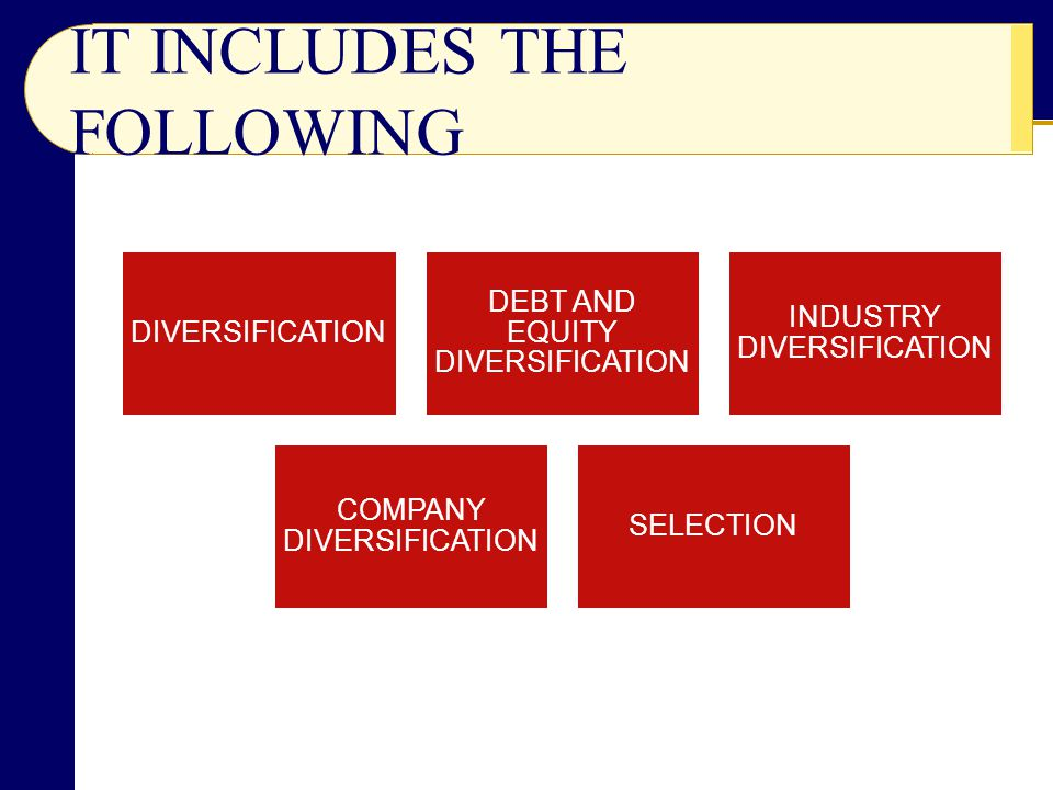 IT INCLUDES THE FOLLOWING DIVERSIFICATION DEBT AND EQUITY DIVERSIFICATION INDUSTRY DIVERSIFICATION COMPANY DIVERSIFICATION SELECTION