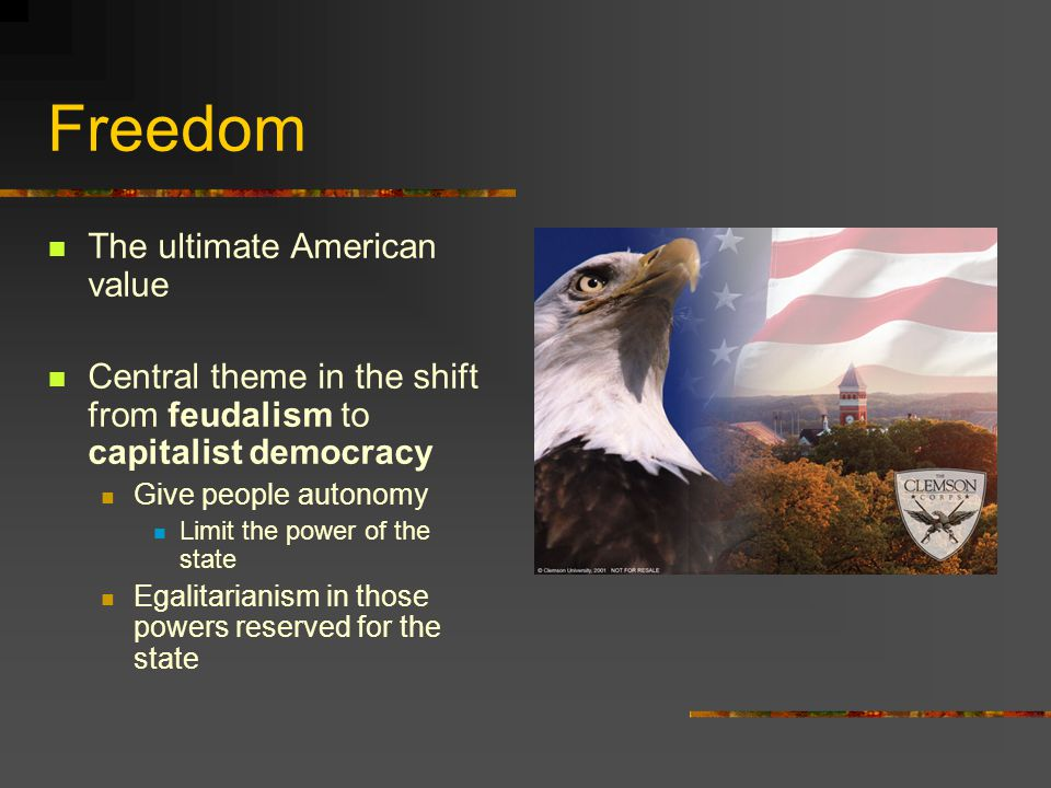Freedom The ultimate American value Central theme in the shift from feudalism to capitalist democracy Give people autonomy Limit the power of the state Egalitarianism in those powers reserved for the state