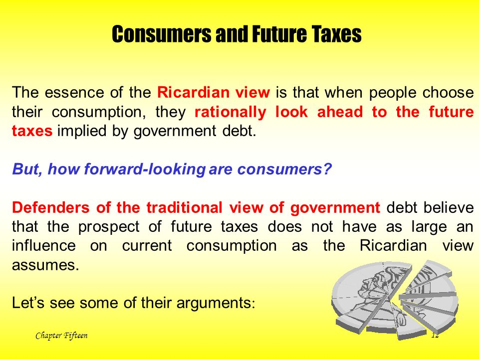 Chapter Fifteen12 Consumers and Future Taxes The essence of the Ricardian view is that when people choose their consumption, they rationally look ahea