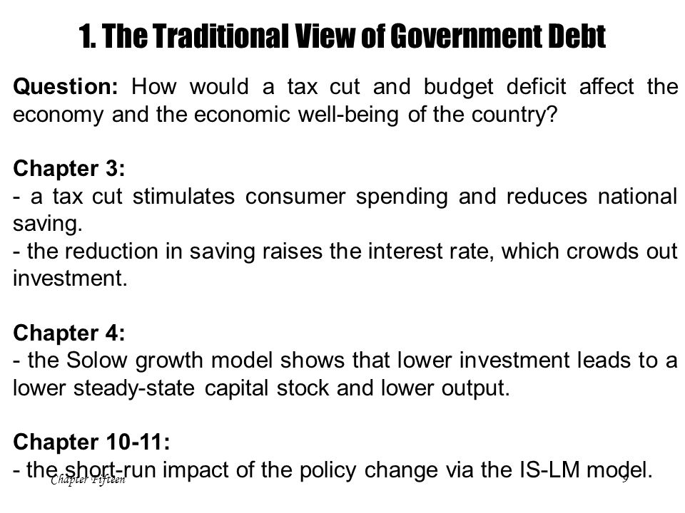 Chapter Fifteen9 Question: How would a tax cut and budget deficit affect the economy and the economic well-being of the country? Chapter 3: - a tax cu