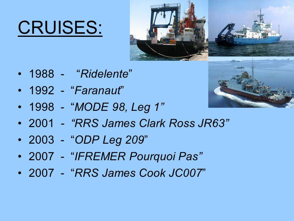 CRUISES: 1988 - Ridelente 1992 - Faranaut 1998 - MODE 98, Leg 1 2001 - RRS James Clark Ross JR63 2003 - ODP Leg 209 2007 - IFREMER Pourquoi Pas 2007 - RRS James Cook JC007