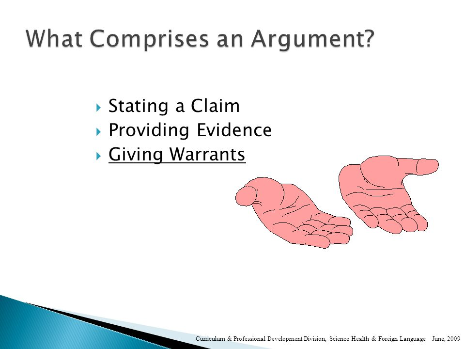  Claim- also called a proposition; declares some state of affairs, often stated as a thesis statement.