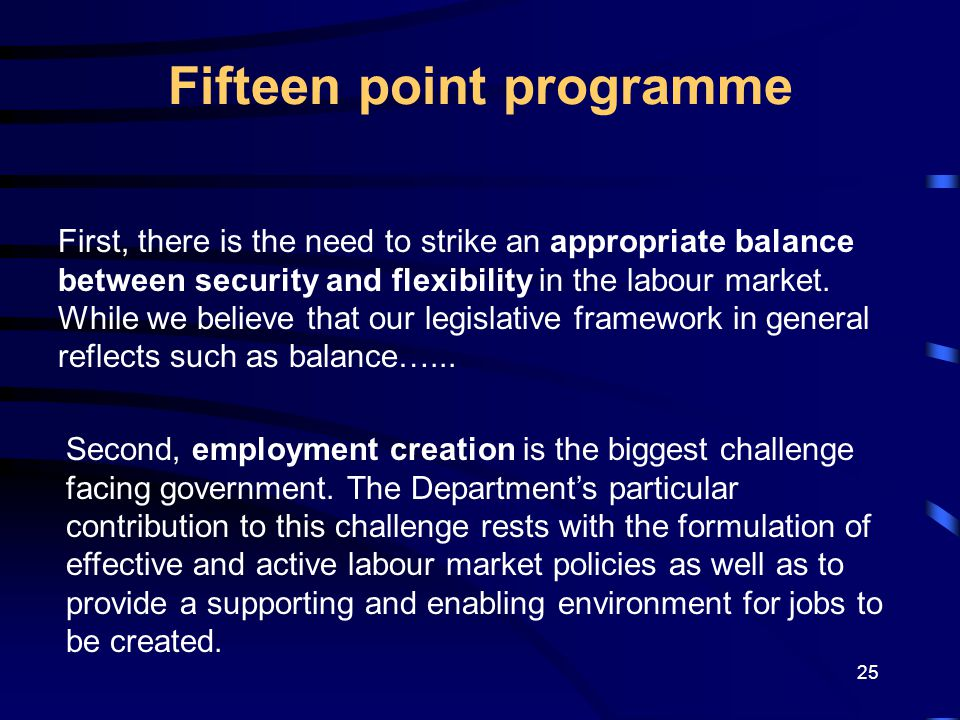 25 Fifteen point programme First, there is the need to strike an appropriate balance between security and flexibility in the labour market.