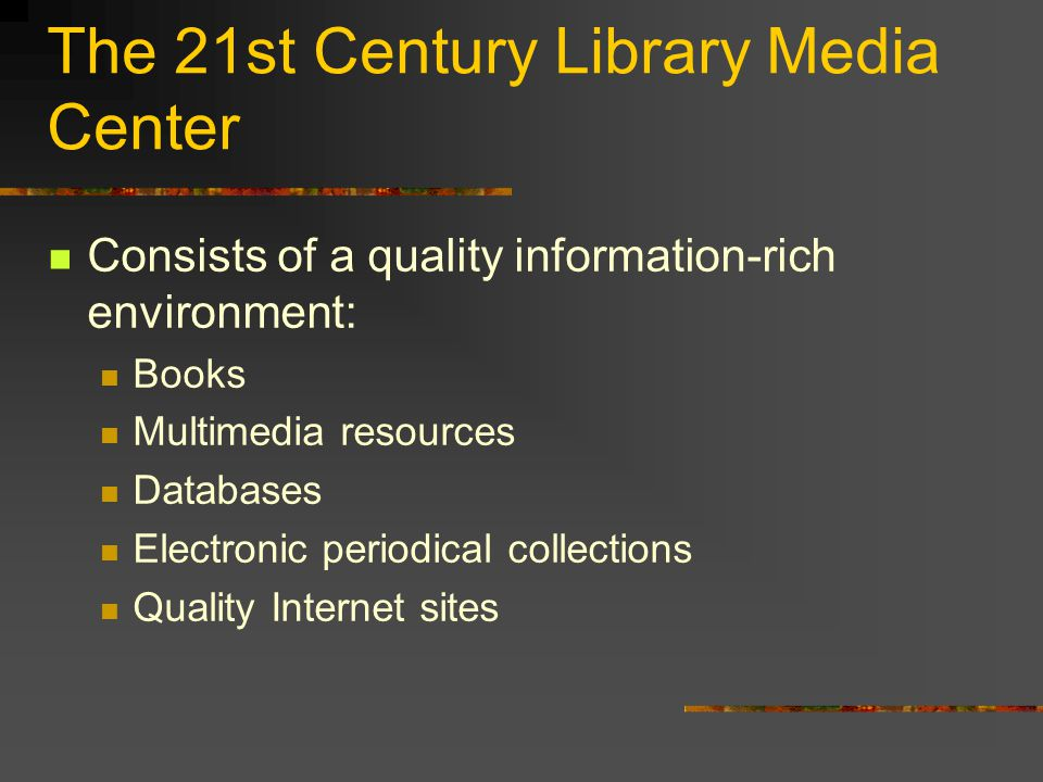 The New Library Media Center: Is available in the LMC, In the classroom, and On beyond into the Home.