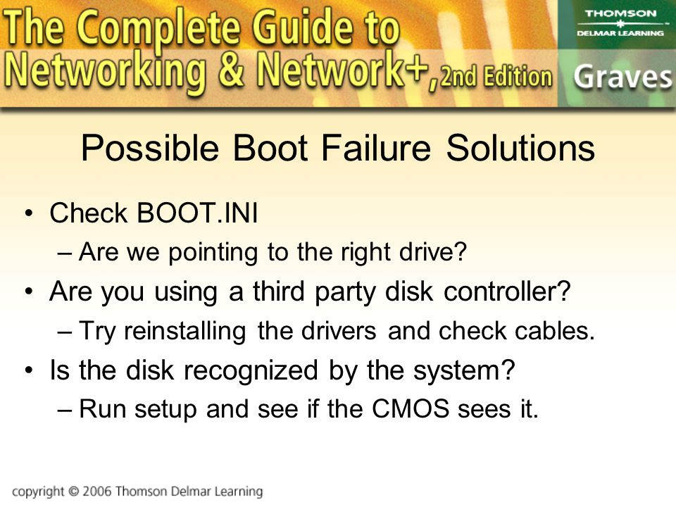 Possible Boot Failure Solutions Check BOOT.INI –Are we pointing to the right drive.
