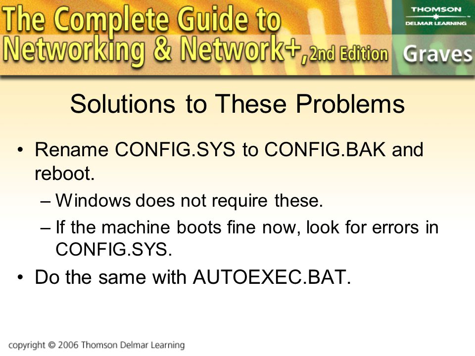 Solutions to These Problems Rename CONFIG.SYS to CONFIG.BAK and reboot.