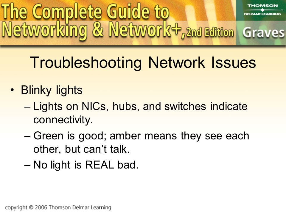 Troubleshooting Network Issues Blinky lights –Lights on NICs, hubs, and switches indicate connectivity.