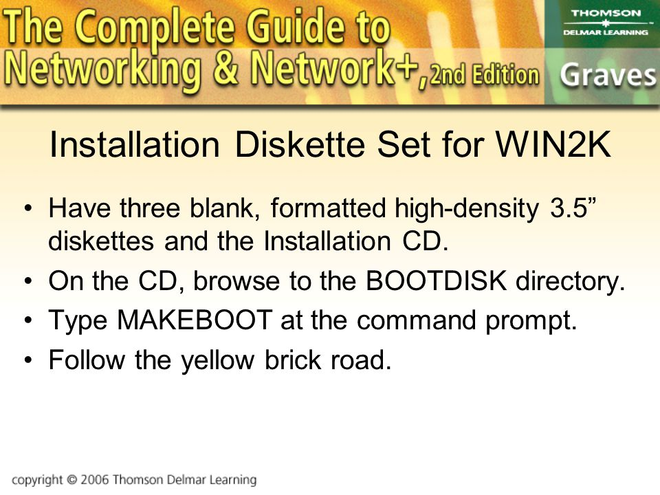 Installation Diskette Set for WIN2K Have three blank, formatted high-density 3.5 diskettes and the Installation CD.