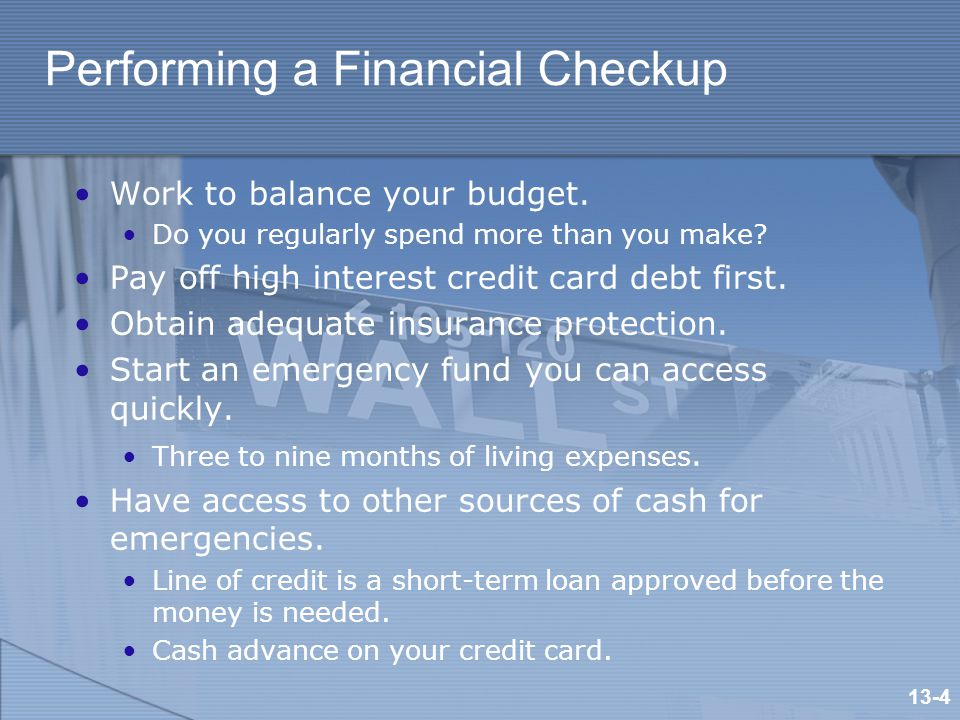 Performing a Financial Checkup Work to balance your budget.