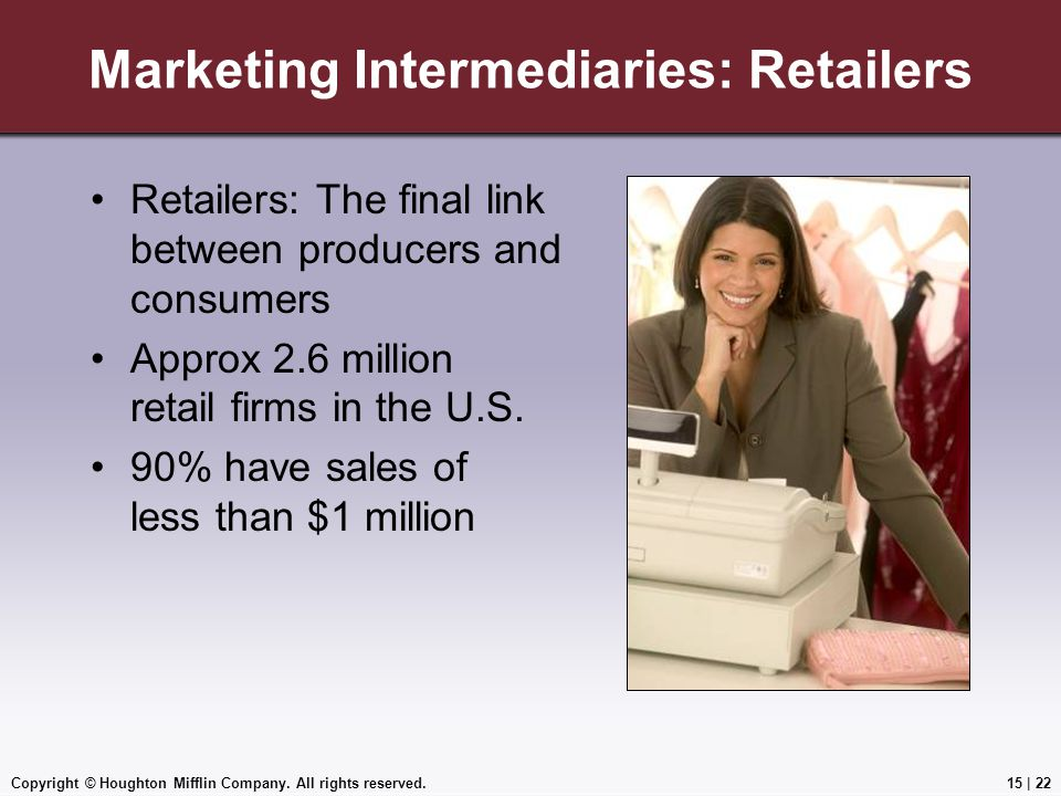 Copyright © Houghton Mifflin Company. All rights reserved.15 | 22 Marketing Intermediaries: Retailers Retailers: The final link between producers and
