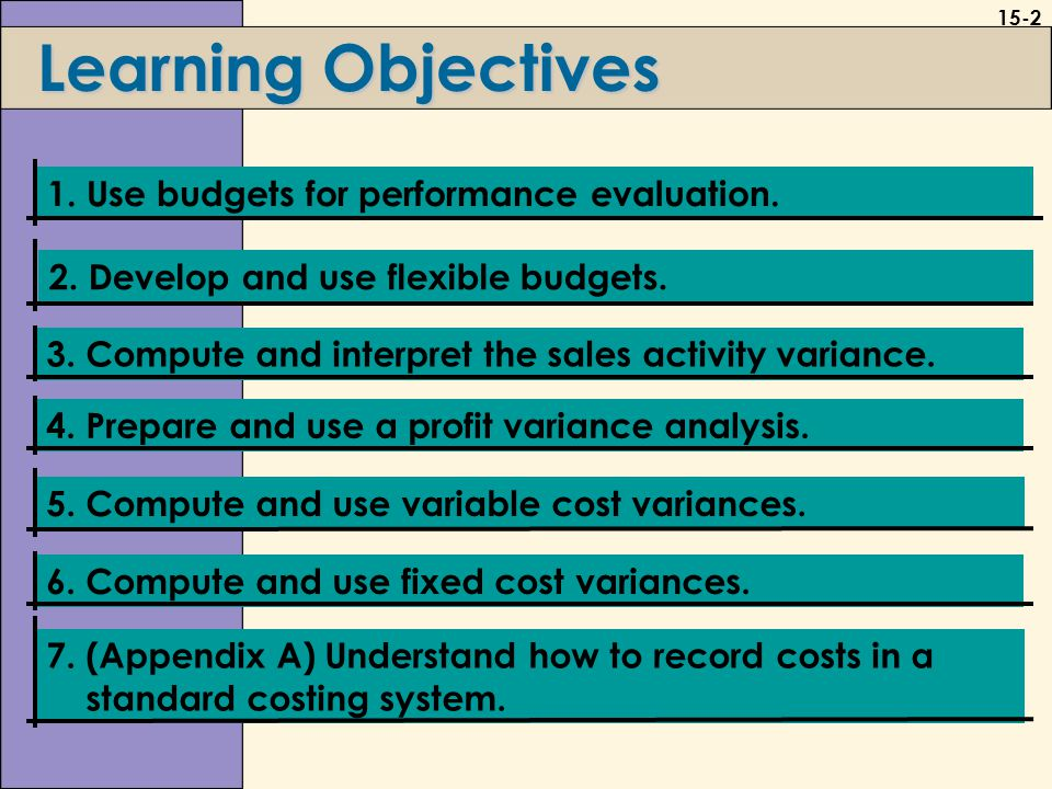15-3 Budgets and Performance Evaluations L.O.1 Use budgets for performance evaluation.