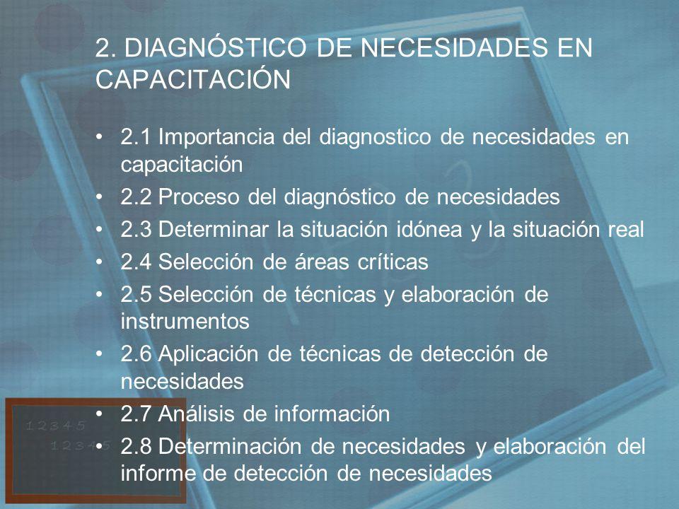 2. DIAGNÓSTICO DE NECESIDADES EN CAPACITACIÓN 2.1 Importancia del diagnostico de necesidades en capacitación 2.2 Proceso del diagnóstico de necesidade
