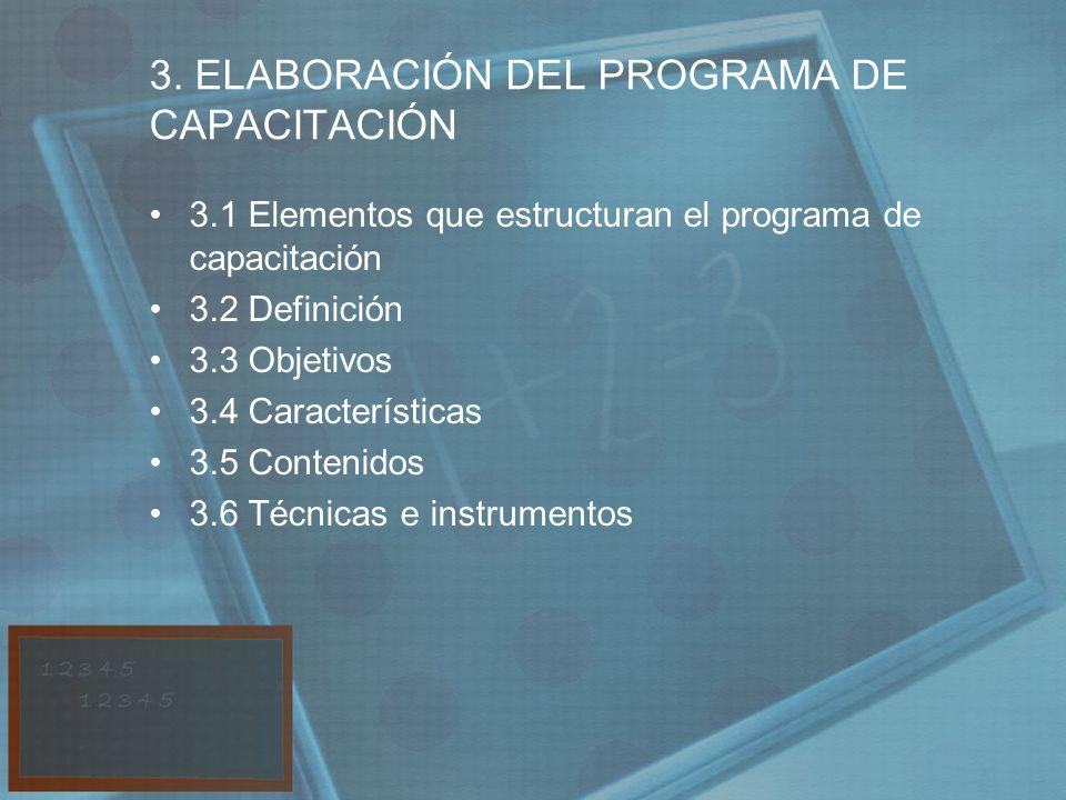 3. ELABORACIÓN DEL PROGRAMA DE CAPACITACIÓN 3.1 Elementos que estructuran el programa de capacitación 3.2 Definición 3.3 Objetivos 3.4 Características