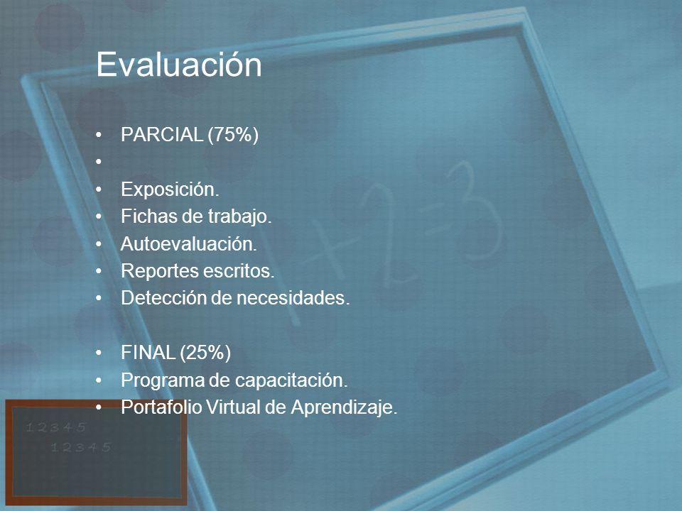 Evaluación PARCIAL (75%) Exposición. Fichas de trabajo.