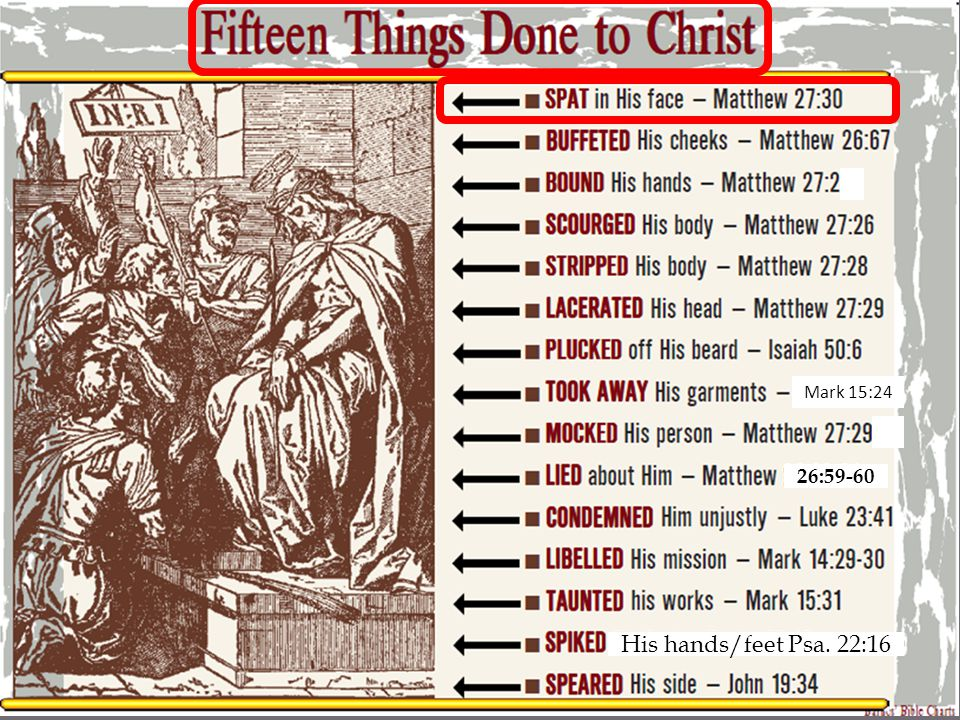 SPAT in His Face Matthew 27:30 Then they spat on Him, and took the reed and struck Him on the head.