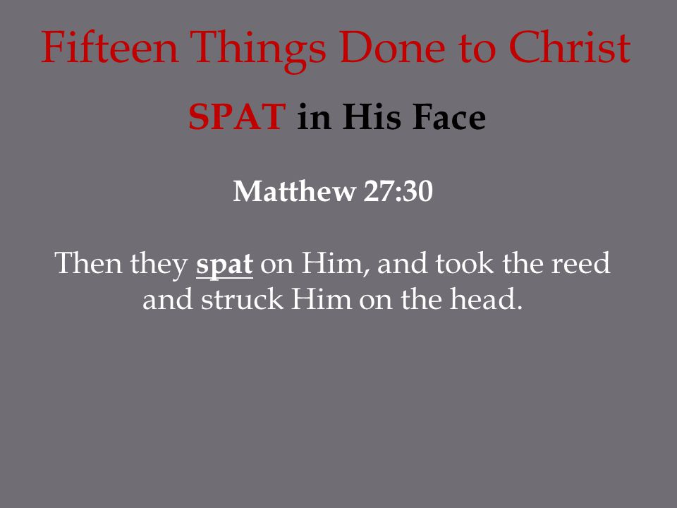 SPAT in His Face Matthew 27:30 Then they spat on Him, and took the reed and struck Him on the head. Fifteen Things Done to Christ