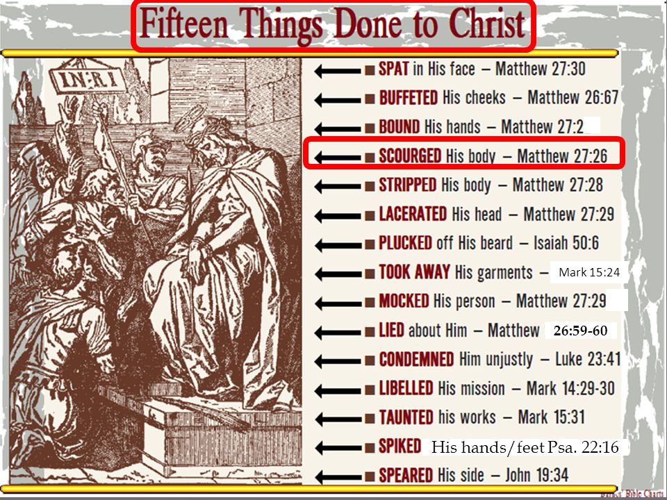 Fifteen Things Done to Christ SPIKED His hands and feet Psalm 22:16 For dogs have surrounded Me; The congregation of the wicked has enclosed Me.