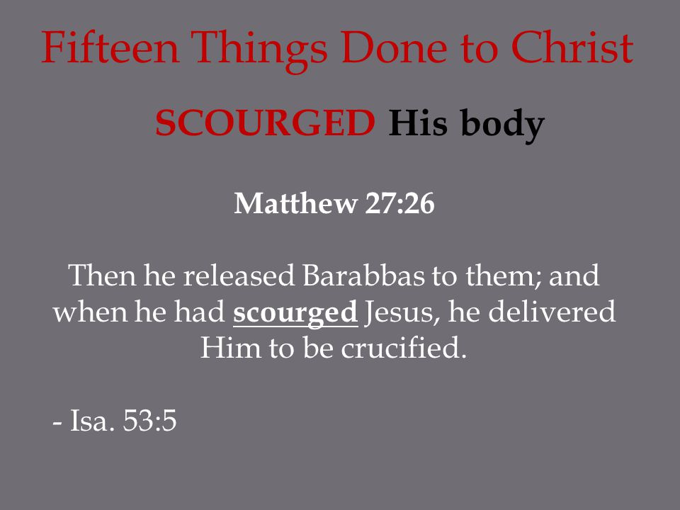 Fifteen Things Done to Christ SCOURGED His body Matthew 27:26 Then he released Barabbas to them; and when he had scourged Jesus, he delivered Him to be crucified.