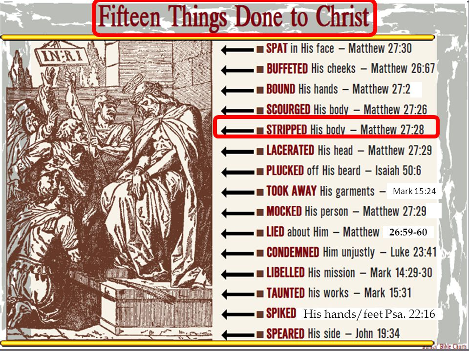 Fifteen Things Done to Christ STRIPPED His body Matthew 27:28 28 And they stripped Him and put a scarlet robe on Him.