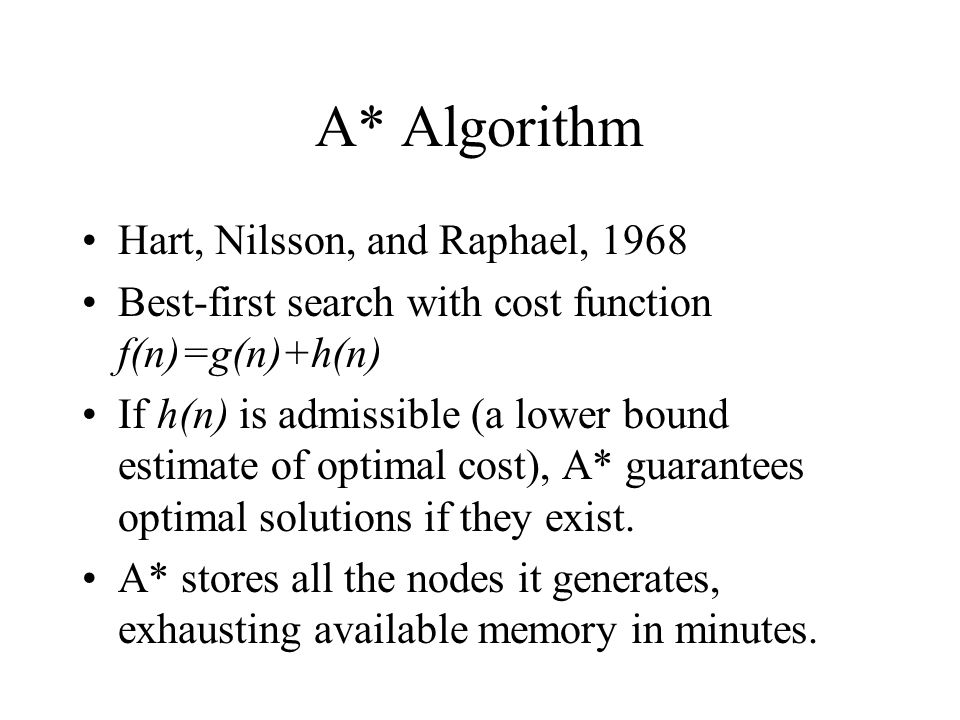 A* Algorithm Hart, Nilsson, and Raphael, 1968 Best-first search with cost function f(n)=g(n)+h(n) If h(n) is admissible (a lower bound estimate of optimal cost), A* guarantees optimal solutions if they exist.