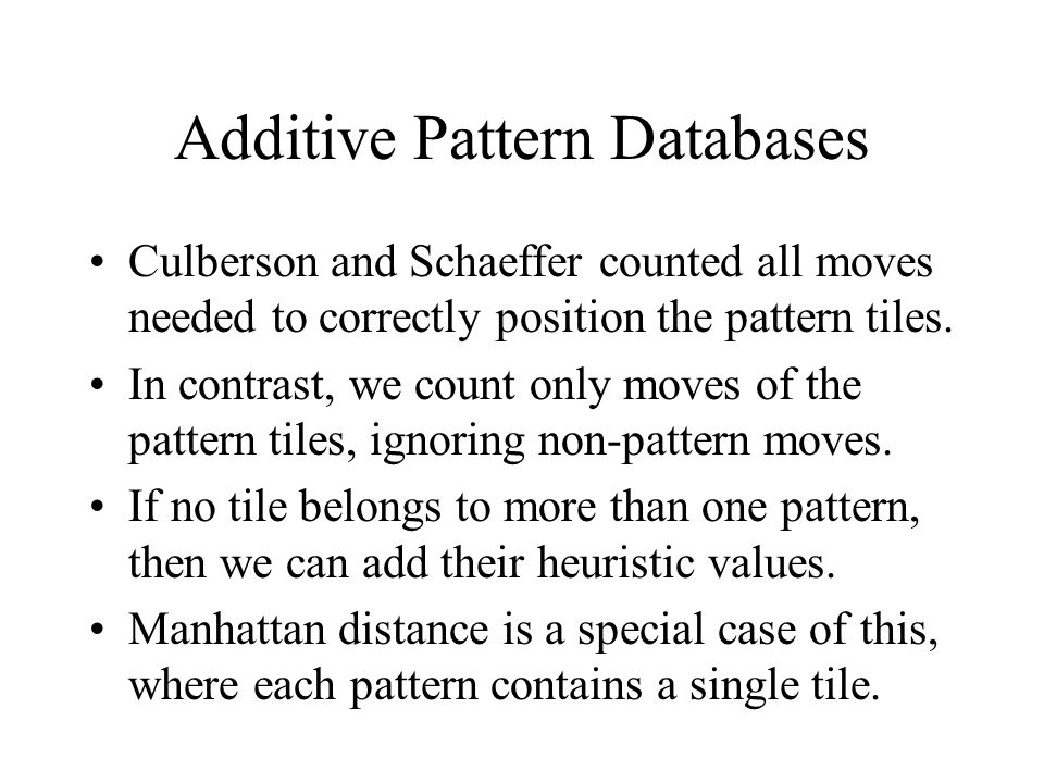 Additive Pattern Databases Culberson and Schaeffer counted all moves needed to correctly position the pattern tiles. In contrast, we count only moves