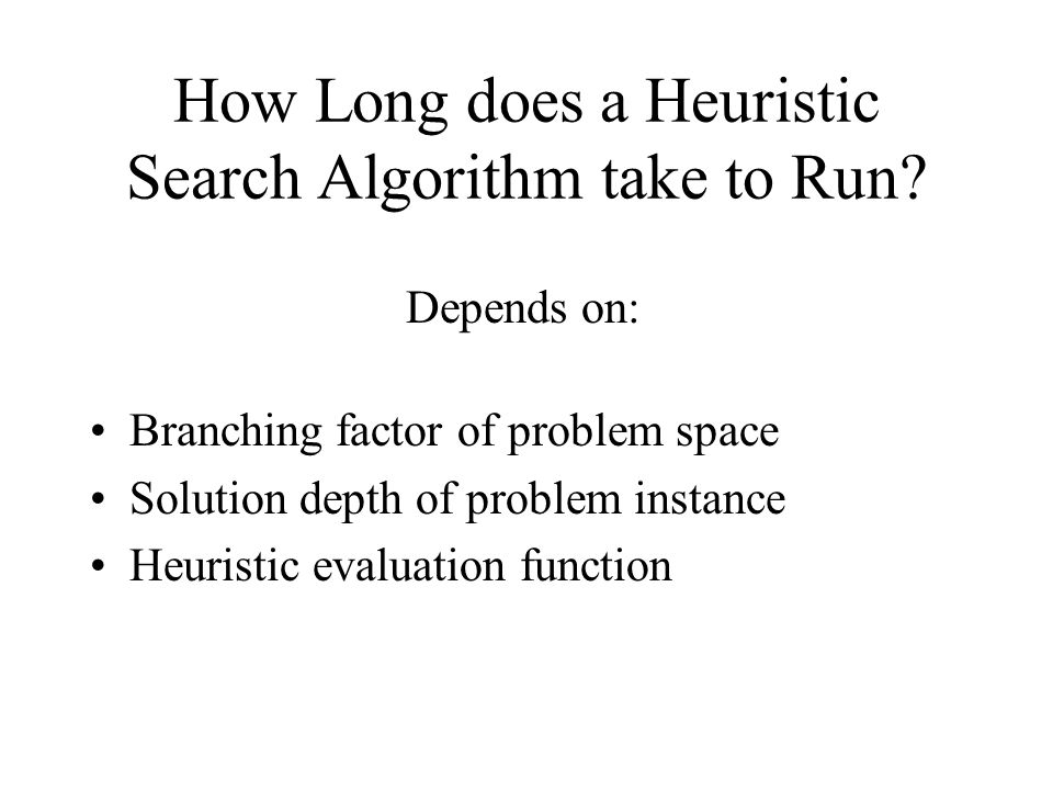 How Long does a Heuristic Search Algorithm take to Run.