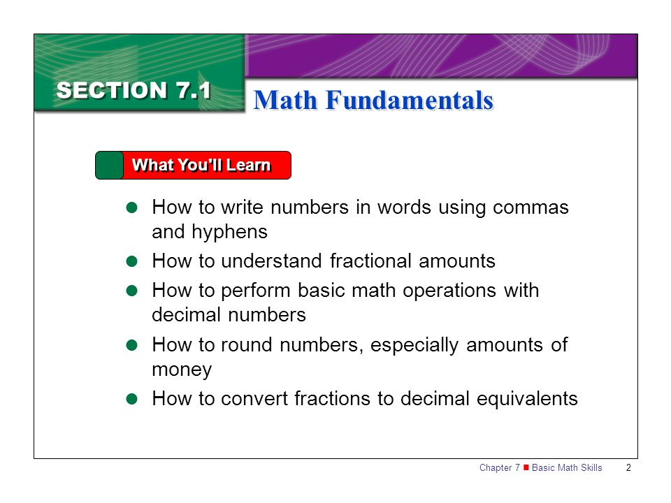 Chapter 7 Basic Math Skills 13 7.1 A SSESSMENT Reviewing Key Terms and Concepts 1.