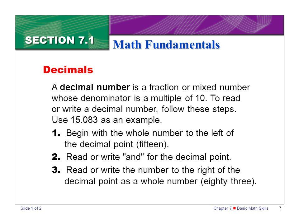 Chapter 7 Basic Math Skills 8 SECTION 7.1 Math Fundamentals 4.
