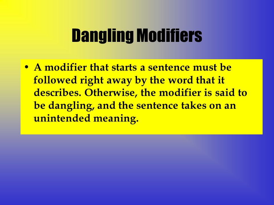 Dangling Modifiers A modifier that starts a sentence must be followed right away by the word that it describes.