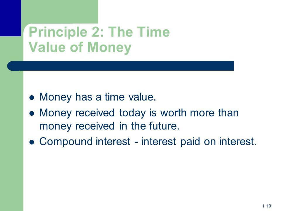 1-10 Principle 2: The Time Value of Money Money has a time value.