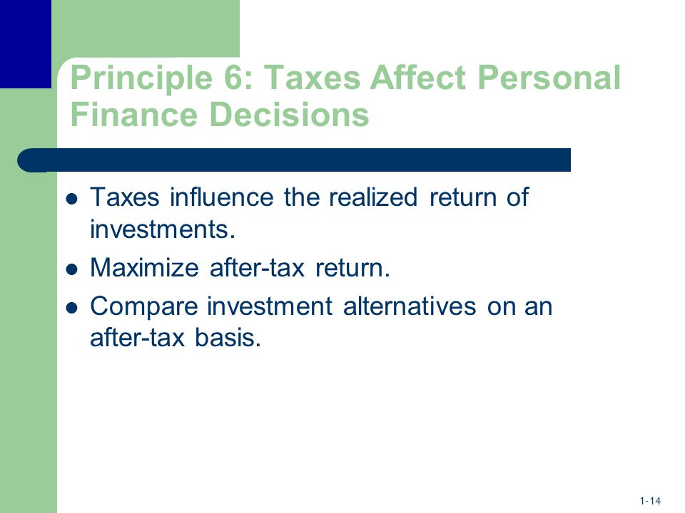 1-14 Principle 6: Taxes Affect Personal Finance Decisions Taxes influence the realized return of investments.