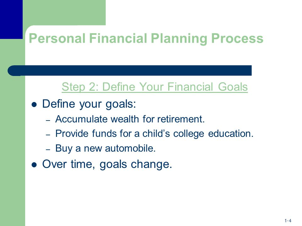 1-4 Personal Financial Planning Process Step 2: Define Your Financial Goals Define your goals: – Accumulate wealth for retirement.