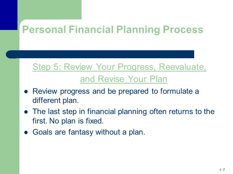 1-7 Personal Financial Planning Process Step 5: Review Your Progress, Reevaluate, and Revise Your Plan Review progress and be prepared to formulate a different plan.