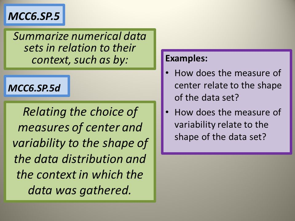 MCC6.SP.5 Summarize numerical data sets in relation to their context, such as by: Examples: How does the measure of center relate to the shape of the