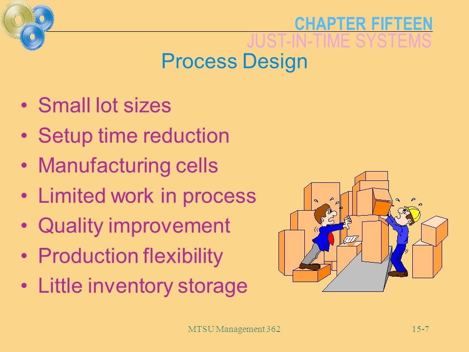 CHAPTER FIFTEEN JUST-IN-TIME SYSTEMS MTSU Management 36215-7 Process Design Small lot sizes Setup time reduction Manufacturing cells Limited work in process Quality improvement Production flexibility Little inventory storage