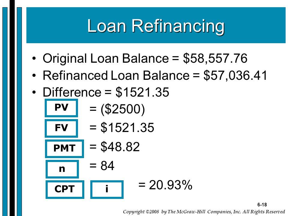 6-18 Copyright ©2008 by The McGraw-Hill Companies, Inc. All Rights Reserved Loan Refinancing Original Loan Balance = $58,557.76 Refinanced Loan Balanc