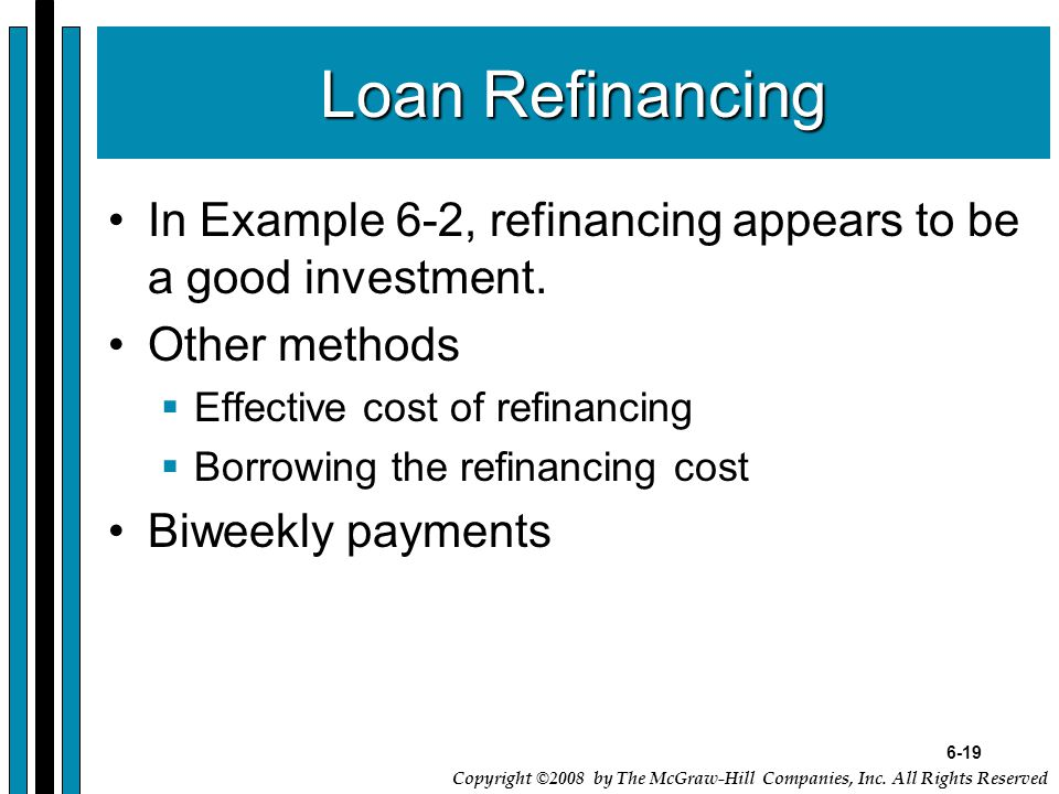 6-19 Copyright ©2008 by The McGraw-Hill Companies, Inc. All Rights Reserved Loan Refinancing In Example 6-2, refinancing appears to be a good investme