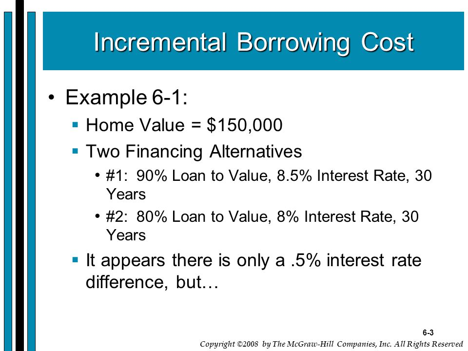 6-3 Copyright ©2008 by The McGraw-Hill Companies, Inc. All Rights Reserved Incremental Borrowing Cost Example 6-1:  Home Value = $150,000  Two Finan