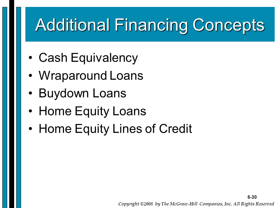 6-30 Copyright ©2008 by The McGraw-Hill Companies, Inc. All Rights Reserved Additional Financing Concepts Cash Equivalency Wraparound Loans Buydown Lo