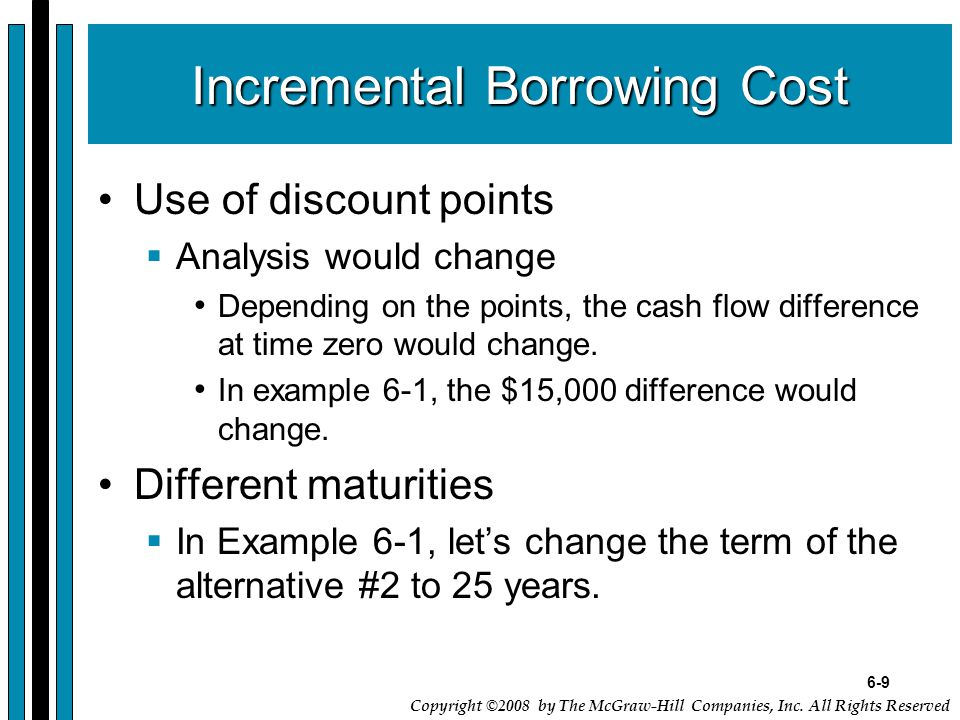 6-9 Copyright ©2008 by The McGraw-Hill Companies, Inc. All Rights Reserved Incremental Borrowing Cost Use of discount points  Analysis would change D