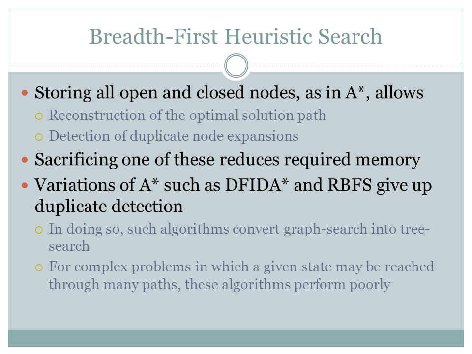 Breadth-First Heuristic Search Storing all open and closed nodes, as in A*, allows  Reconstruction of the optimal solution path  Detection of duplicate node expansions Sacrificing one of these reduces required memory Variations of A* such as DFIDA* and RBFS give up duplicate detection  In doing so, such algorithms convert graph-search into tree- search  For complex problems in which a given state may be reached through many paths, these algorithms perform poorly