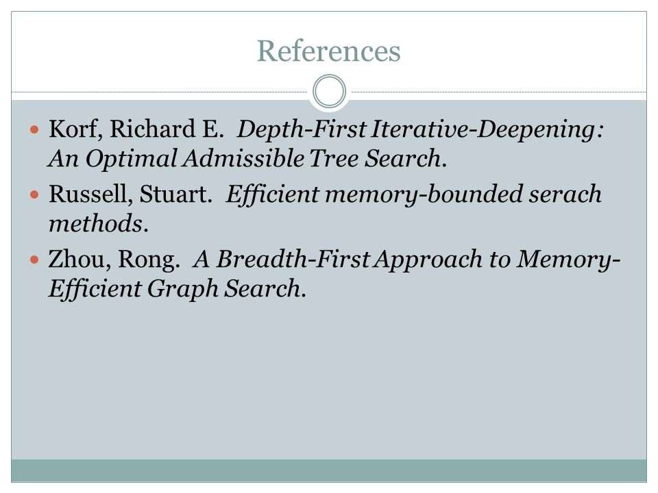 References Korf, Richard E. Depth-First Iterative-Deepening: An Optimal Admissible Tree Search. Russell, Stuart. Efficient memory-bounded serach metho
